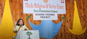 Nominated MP, Hon. Sonia Birdi speaking during the Hindu Religious and service centre ten yrs of tree planting event.