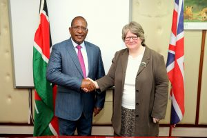CS Keriako Tobiko with UK Under Secretary of State for environment Theresa Coffey MP. when she paid her a courtesy call.