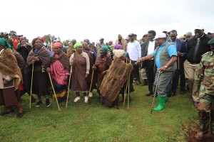 Environment and Forestry CS Keriako Tobiko interacts with locals of the Enapuiyapui Swamp, Molo, Nakuru County , during the mark of the World Wetlands Day, the CS emphasized  on the need for communities living adjacent to forests to benefit from forest resources.