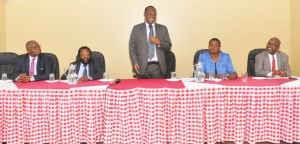 PS, Dr. Chris Kiptoo, addressing staff of KMD during the familiarization tour.