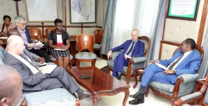 PS Dr Chris Kiptoo and the EU delegation, when they paid him a courtesy call.