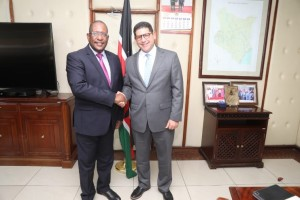 Environment CS Keriako Tobiko receives UNDP-Kenya Resident Representative Mr. Walid Badawi in his office . The Team visited the CS to discuss UNDP Projects Portfolio.