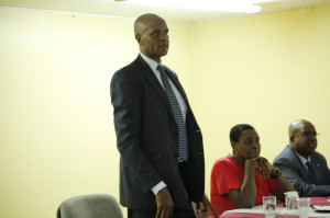 SA Joel Kitili addresses participants when he represented PS Dr. Chris Kiptoo at the opening of the induction program.