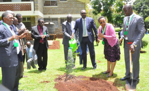 The PS, Dr. Chris  Kiptoo, watering a commemorative tree at KEFRI, after planting it. The PS was at KEFRI on familiarization tour.