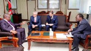 Environment CS Mr. Keriako Tobiko, Left, second left Finnish Amb.  Erik Lundberg, Finnish Embassy Deputy Head of missions Ramses Malaty and Environment PS Dr. Chris Kiptoo (Right) during the courtesy call.