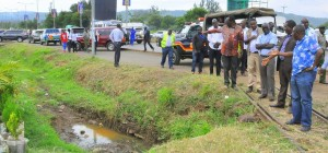 The PS, with the multi-agency team, inspecting pollution hotspots in Kisumu.