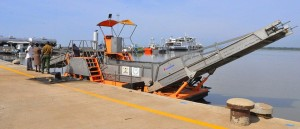 The hyacith harvester, that is docked at the Kisumu Port.