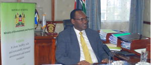 PS Dr Chris Kiptoo speaks  at his office during the recording of the World Meteorological Day message with Kenya Meteorological technical staff. The message will be shared virtually following the government directive that banned social gathering in the wake of the Corana virus pandemic.