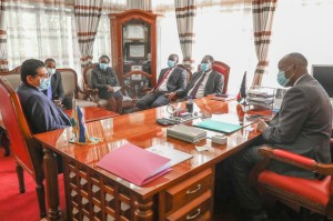 Environment PS Dr. Kiptoo and the UNDP team paying a courtesy call to Governor Lee Kinyanjui at his Office at Nakuru County Headquarters