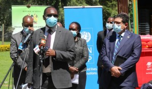 Environment and Forestry PS Dr. Chris Kiptoo addressed the press during the function, on the right is United Nations Country Representative Walid Badawi (extreme left), Nakuru Governor Lee Kinyanjui (second left) and other officials following the proceedings.