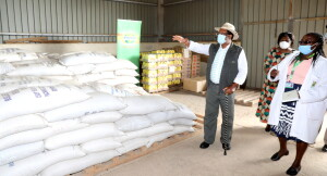 Environment & Forestry CS Kiriako Tobiko during the handing over of food stuffs to be distributed in Kajiado County