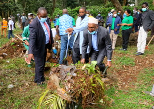 Environment and Forestry CAS Hon. Mohamed Elmi carries trash during the WDCD celebrations