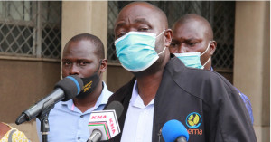 Kisumu County NEMA boss Tom Togo addressing the media in Kisumu on measures taken to curb wanton sand harvesting in the area. Photo;Courtesy