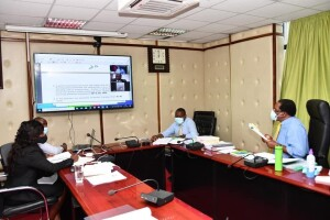 Environment CS Keriako Tobiko during a virtual zoom meeting with the Senate Standing Committee on Land, Environment and Natural Resources , the committee had sort answers from the CS concerning the Ngong Forest evictions.