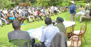 PS, Dr. Chris Kiptoo, addressing  Kaptagat Forest Community Forest Associations (CFA's) Representatives at the Kaptagat forest. He called for collaboration with the CFA's in managing forests , noting that, it will bring diverse opportunities for communities within the ecosystem.