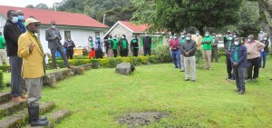 The PS, Dr. Chris Kiptoo addressing Scientists and staff working at the Londiani seed Research Center , Kericho County.