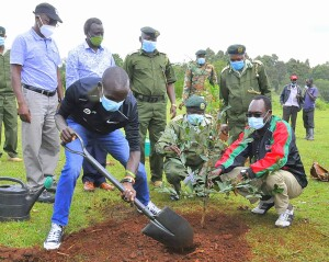 The PS, Dr. Chris Kiptoo assists Dr. Eliud Kipchoge, the fastest man in the World in planting a commemorative tree at the Kaptagat forest.