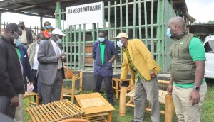 The PS, being shown Bamboo products at the Londiani KEFRI centre.
