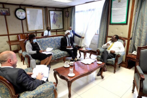 PS Dr. Kiptoo and British High Commission Head of Economic Development and Climate Mr. Mike Foster,  and the technical team from the Ministry during the meeting.