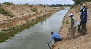 The CS, witnessing the collection of water samples from River Galana in Malindi to testing