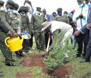 The PS, Dr. Chris Kiptoo, planting a commemorative tree at the Koitaleel Samoei University in Nandi Hills