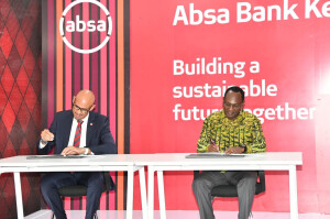 Right - PS Dr. Kiptoo and Mr Awouri during the signing of framework of cooperation for the implementation of ABSA Bank project dubbed 10 million trees and seedlings in 5 years .
