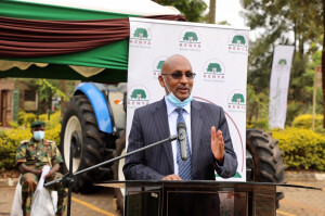 Environment CAS Hon. Mohamed Elmi speaks during the opening of the National Community Based Natural Resources Management (NCBNRM), conference that brought together members of the National Alliance for Community Forest Associations (NACOFA) at Kenya Forest Service , Karura. He commanded CFAs for their efforts in forest conservation.