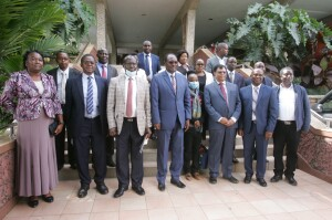 A the PS in a group photo of the Committee members , the members are drawn from different sectors and their core mandate will be to strengthen policy on sound chemical management
