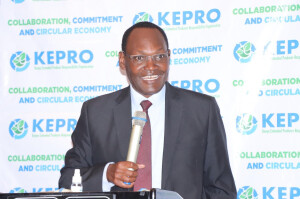 Environment PS Dr Kiptoo giving his remarks during the launch, he said Kenya has made several milestones meant to address challenges in waste management in terms of policy and legislation.