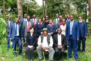 CS Environment and Forestry posses for a group photo with the technical team during the brieffing of Kenya-GEF 7 Drylands Programme
