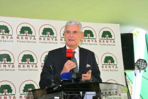 The President of the United Nations General Assembly H.E Mr. Volkan BOZKIR during the discussions with CFAS at karura Forest.