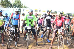 Some of the cyclists who took part in the 74km race.