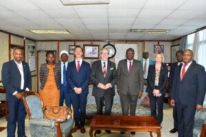 The PS (center), the Ambassador and a team of technical officers during the meeting.